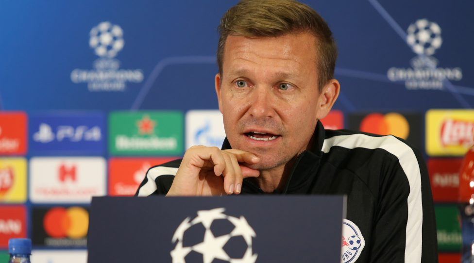 SALZBURG,AUSTRIA,22.OCT.19 - SOCCER - UEFA Champions League, Red Bull Salzburg vs SSC Neapel, preview, press conference RBS. Image shows head coach Jesse Marsch (RBS). Photo: GEPA pictures/ Mathias Mandl