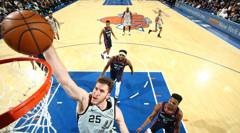 NEW YORK, NY - FEBRUARY 24:  Jakob Poeltl #25 of the San Antonio Spurs shoots the ball against the New York Knicks on February 24, 2019 at Madison Square Garden in New York City, New York.  NOTE TO USER: User expressly acknowledges and agrees that, by downloading and or using this photograph, User is consenting to the terms and conditions of the Getty Images License Agreement. Mandatory Copyright Notice: Copyright 2019 NBAE  (Photo by Nathaniel S. Butler/NBAE via Getty Images)