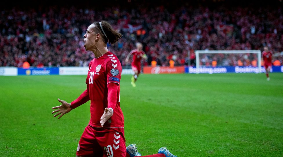 Denmark's Yussuf Yurary Poulsen celebrates after scoring a goal during the UEFA Euro 2020 Group D qualifying round football match between Denmark and Switzerland on October 12, 2019 at the Telia Parken stadium in Copenhagen. (Photo by Liselotte Sabroe / Ritzau Scanpix / AFP) / Denmark OUT (Photo by LISELOTTE SABROE/Ritzau Scanpix/AFP via Getty Images)