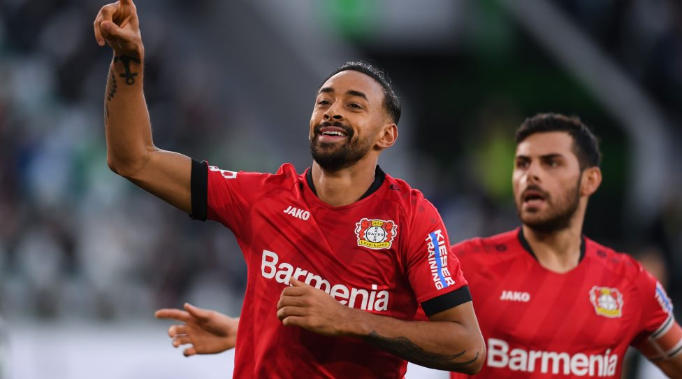 WOLFSBURG, GERMANY - NOVEMBER 10: Karim Bellarabi of Bayer 04 Leverkusen celebrates after scoring his team's first goal during the Bundesliga match between VfL Wolfsburg and Bayer 04 Leverkusen at Volkswagen Arena on November 10, 2019 in Wolfsburg, Germany. (Photo by Oliver Hardt/Bongarts/Getty Images)