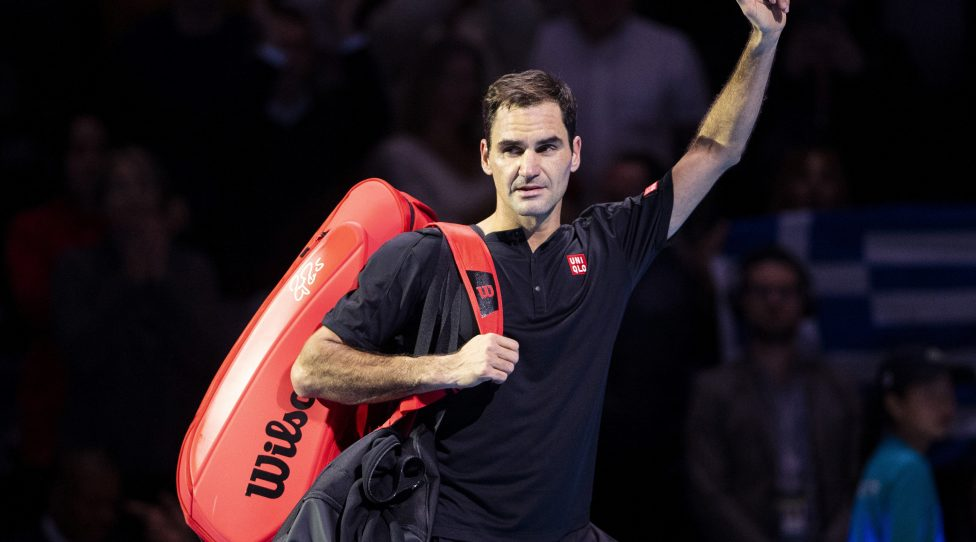 LONDON, ENGLAND - NOVEMBER 16: Roger Federer of Switzerland acknowledges the fans as he leaves the court after his semi-final singles match against Stefanos Tsitsipas of Greece during Day Seven of the Nitto ATP World Tour Finals at The O2 Arena on November 16, 2019 in London, England. (Photo by Justin Setterfield/Getty Images)