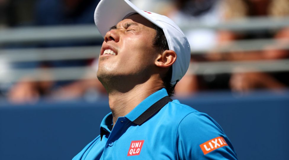 NEW YORK, NEW YORK - AUGUST 30: Kei Nishikori of Japan reacts during his Men's Singles third round match Alex de Minaur of Australia on day five of the 2019 US Open at the USTA Billie Jean King National Tennis Center on August 30, 2019 in Queens borough of New York City. (Photo by Al Bello/Getty Images)