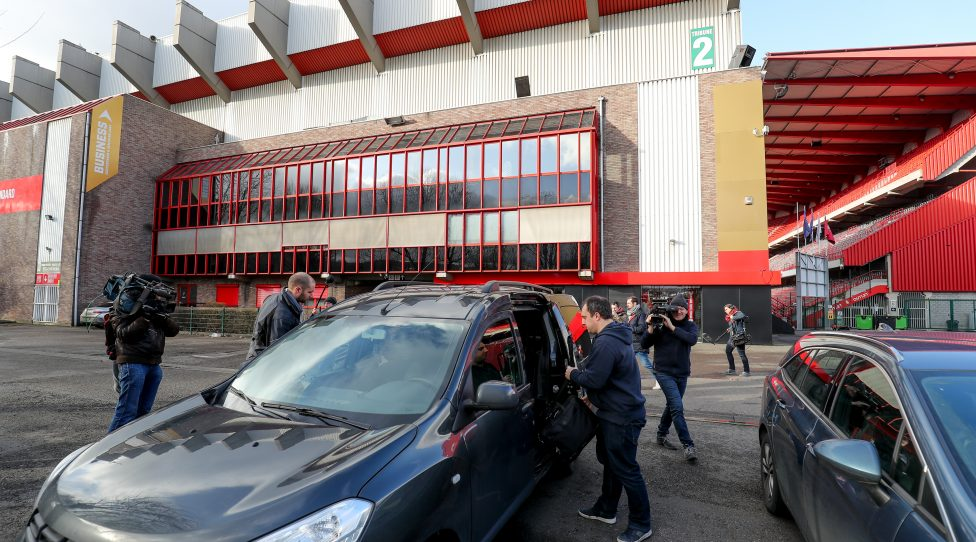 Illustration picture shows investigators leaving the stadium of Jupiler Pro League team Standard de Liege, Wednesday 29 January 2020. Earlier this morning, investigators performed house searchings at the home of Standard chairman Venanzi. According to media reports, the searchings are part of the ongoing investigation into soccer agent Henrotay, who was arrested last year. BELGA PHOTO BRUNO FAHY (Photo by BRUNO FAHY/BELGA MAG/AFP via Getty Images)