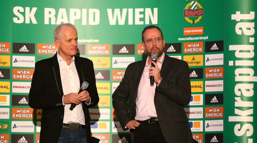 VIENNA,AUSTRIA,04.DEC.15 - SOCCER - tipico Bundesliga, SK Rapid Wien, sports and business talk. Image shows Andy Marek and Martin Bruckner (Rapid). Keywords: Wien Energie. Photo: GEPA pictures/ Christian Ort