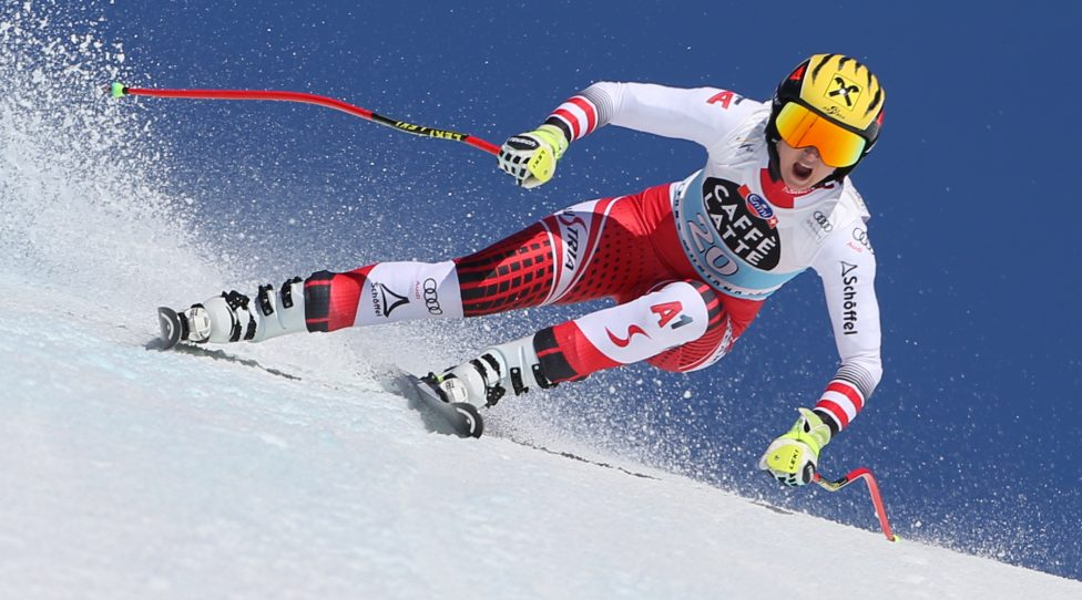 CRANS MONTANA,SWITZERLAND,22.FEB.20 - ALPINE SKIING - FIS World Cup, downhill, ladies. Image shows Nina Ortlieb (AUT). Photo: GEPA pictures/ Mathias Mandl