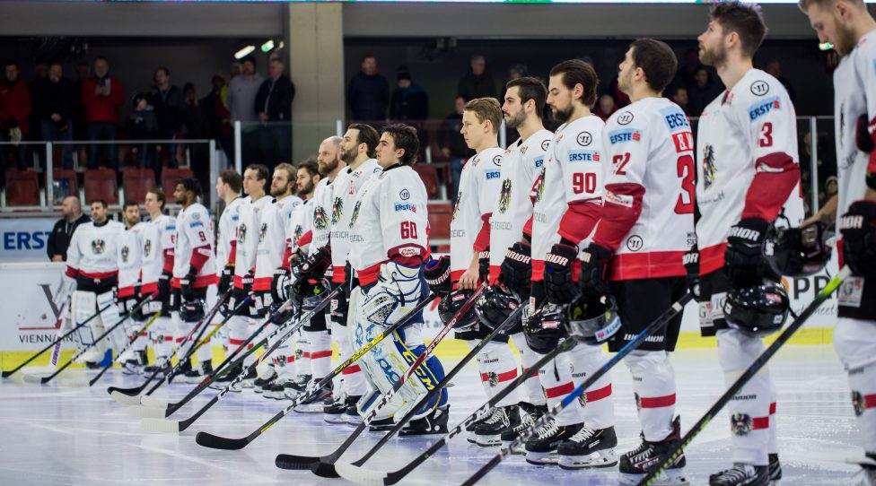 KLAGENFURT,AUSTRIA,07.FEB.20 - ICE HOCKEY - Oesterreich Cup, OEEHV international match, Austria vs Norway. Image shows players of Austria. Photo: GEPA pictures/ Daniel Goetzhaber