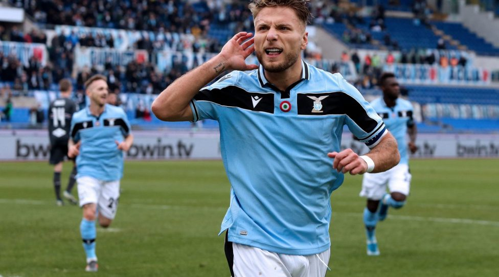 ROME, ITALY - JANUARY 18: Ciro Immobile of SS Lazio celebrates after scoring goal 5-0 during the Serie A match between SS Lazio and  UC Sampdoria at Stadio Olimpico on January 18, 2020 in Rome, Italy. (Photo by MB Media/Getty Images)