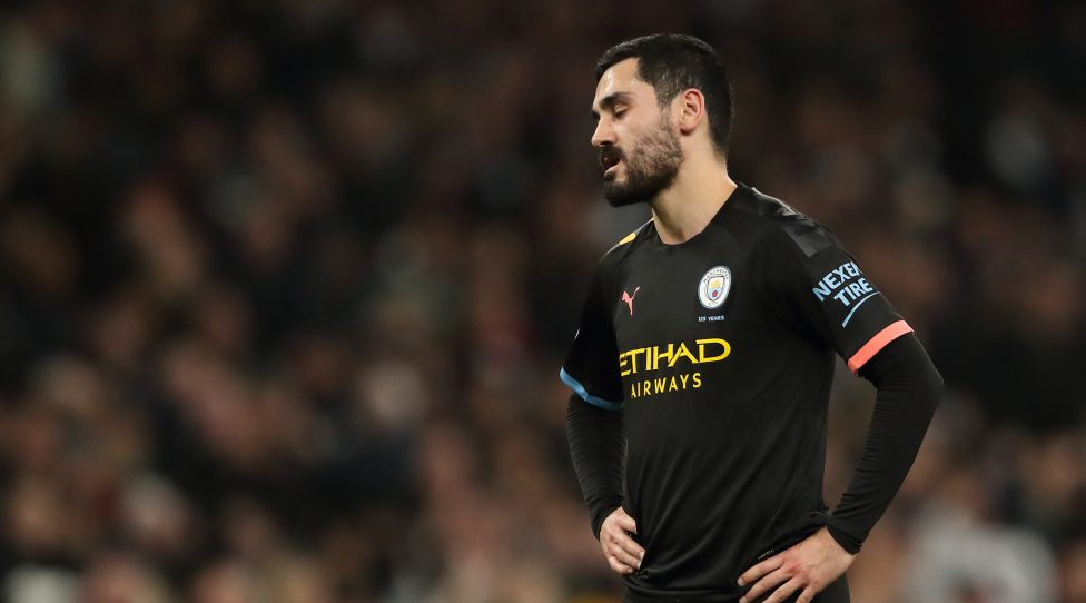LONDON, ENGLAND - FEBRUARY 02: A dejected Ilkay Gundogan of Manchester City during the Premier League match between Tottenham Hotspur and Manchester City at Tottenham Hotspur Stadium on February 2, 2020 in London, United Kingdom. (Photo by James Williamson - AMA/Getty Images)