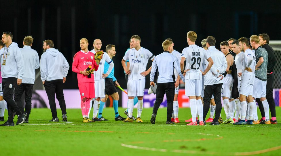 LINZ,AUSTRIA,12.MAR.20 - SOCCER - UEFA Europa League, roud of last sixteen, Linzer ASK vs Manchester United FC. Image shows the disappointment of team LASK. Photo: GEPA pictures/ Christian Moser