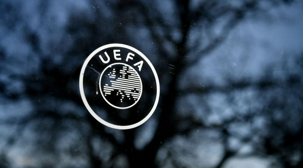 This picture shows the UEFA logo at the organization's headquarters in Nyon on Febraury 28, 2020. (Photo by Fabrice COFFRINI / AFP) (Photo by FABRICE COFFRINI/AFP via Getty Images)
