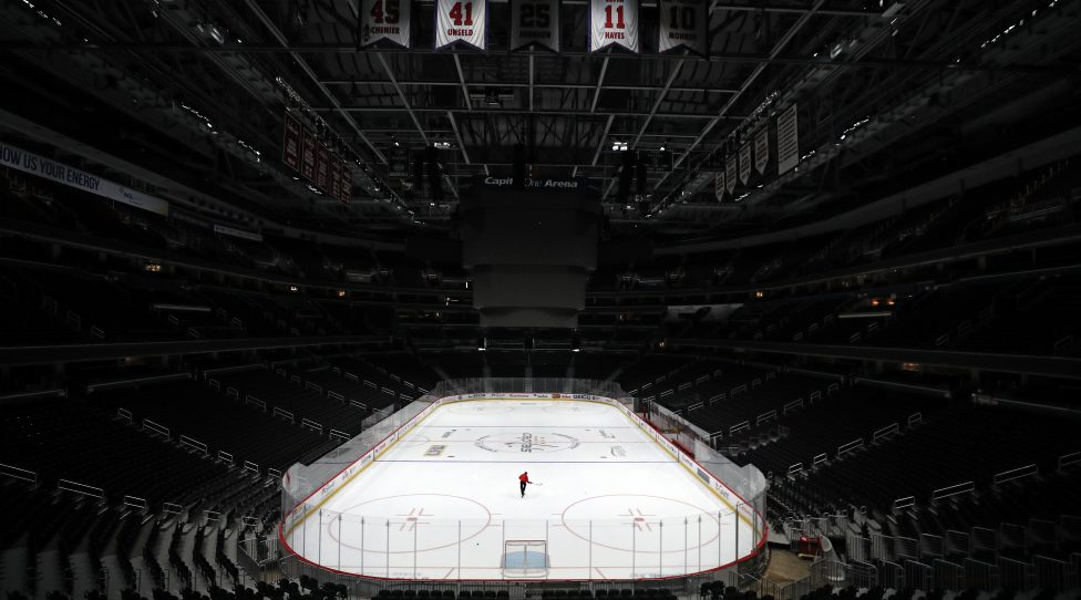 WASHINGTON, DC - MARCH 12: Sam Hess, Operations with Monumental Sports & Entertainment, skates alone prior Detroit Red Wings playing against the Washington Capitals at Capital One Arena on March 12, 2020 in Washington, DC. Today the NHL announced is has suspended their season due to the uncertainty of the coronavirus (COVID-19) with hopes of returning. The NHL currently joins the NBA, MLS, as well as, other sporting events and leagues around the world suspending play because of the coronavirus outbreak. (Photo by Patrick Smith/Getty Images)
