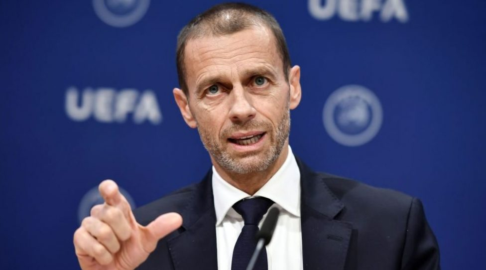 UEFA president Aleksander Ceferin gestures during a press conference following a meeting of the executive committee at the UEFA headquarters, in Nyon, Switzerland on December 4, 2019. (Photo by Fabrice COFFRINI / AFP) (Photo by FABRICE COFFRINI/AFP via Getty Images)