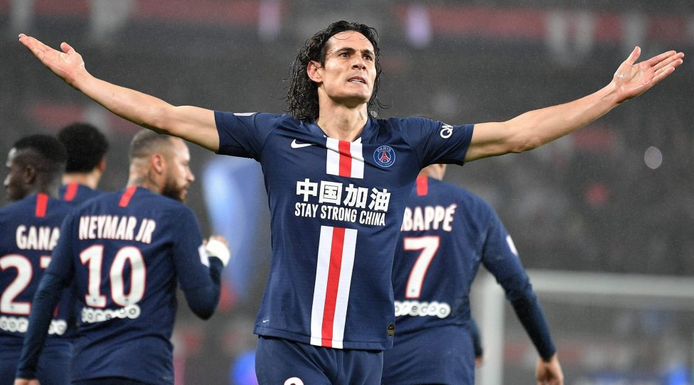 200224 -- PARIS, Feb. 24, 2020 Xinhua -- Edinson Cavani of Paris Saint-Germain celebrates during the Ligue 1 football match between Paris Saint-Germain PSG and Bordeaux in Paris, France, Feb. 23, 2020. Photo by Jack Chan/Xinhua SPFRANCE-PARIS-FOOTBALL-LIGUE 1-PSG VS BORDEAUX PUBLICATIONxNOTxINxCHN