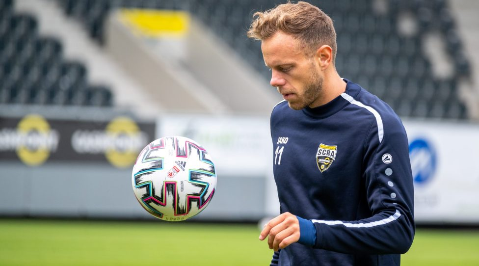 ALTACH,AUSTRIA,16.MAY.20 - SOCCER - tipico Bundesliga, SCR Altach, training after lightening the restrictions due to the SARS-CoV-2 crisis, corona crisis. Image shows Marco Meilinger (Altach) during the training. Photo: GEPA pictures/ Oliver Lerch