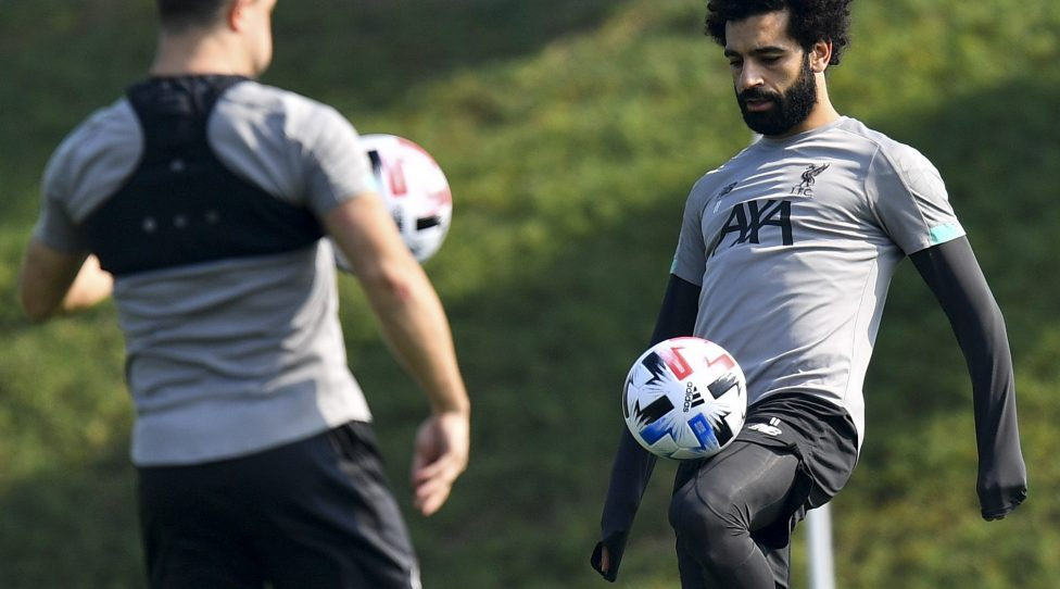 191221 -- DOHA, Dec. 21, 2019 Xinhua -- Mohamed Salah R of Liverpool attends a training session in Doha, Qatar, Dec. 20, 2019. Liverpool will face Flamengo in their FIFA Club World Cup Qatar 2019 final match on Dec. 21, 2019. Photo by Nikku/Xinhua SPQATAR-DOHA-FIFA CLUB-WORLD CUP-LIVERPOOL-TRAINING PUBLICATIONxNOTxINxCHN