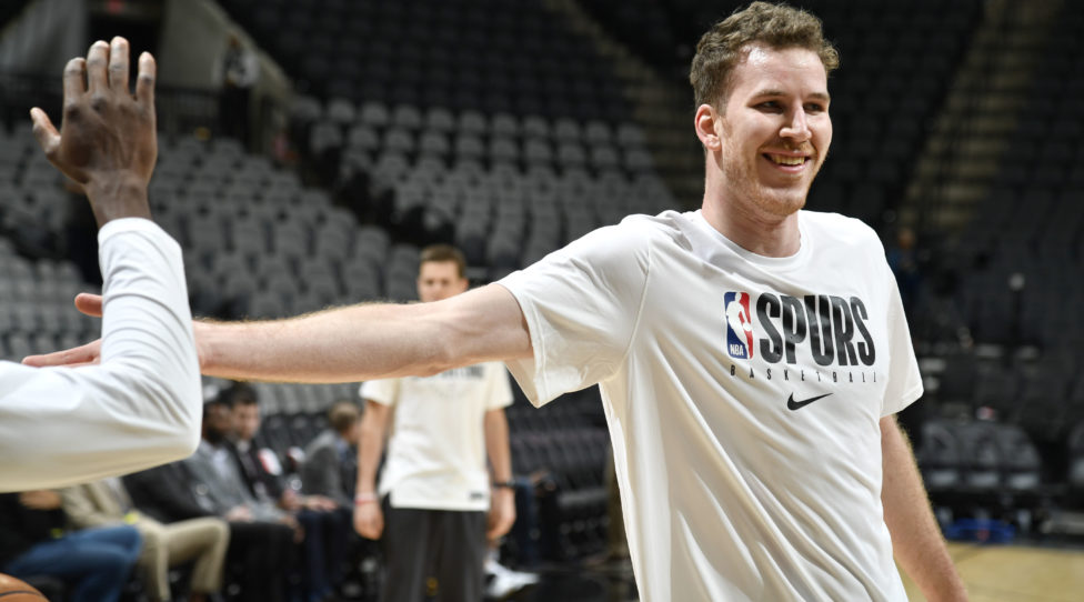 SAN ANTONIO, TX - JANUARY 24: Jakob Poeltl #25 of the San Antonio Spurs smiles before the game against the Phoenix Suns on January 24, 2020 at the AT&T Center in San Antonio, Texas. NOTE TO USER: User expressly acknowledges and agrees that, by downloading and or using this photograph, user is consenting to the terms and conditions of the Getty Images License Agreement. Mandatory Copyright Notice: Copyright 2020 NBAE (Photos by Logan Riely/NBAE via Getty Images)
