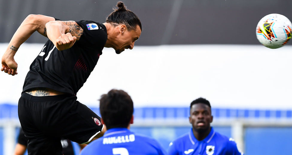 GENOA, ITALY - JULY 29: Zlatan Ibrahimovic of Milan scores a goal during the Serie A match between UC Sampdoria and AC Milan at Stadio Luigi Ferraris on July 29, 2020 in Genoa, Italy. (Photo by Paolo Rattini/Getty Images)