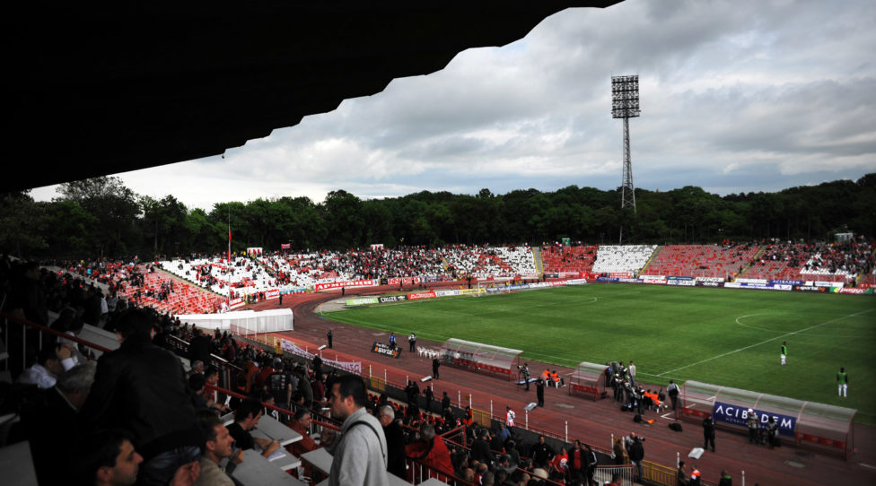 SOFIA, BULGARIA - MAY 19:  General view of the Bulgarian Army Stadium, home of PFC CSKA Sofia taken during the Bulgarian A PFG League match between PFC CSKA Sofia and PFC Litex Lovech held on May 19, 2012 at the Bulgarian Army Stadium in Sofia, Bulgaria. (Photo by Nikolay Doychinov/EuroFootball/Getty Images)