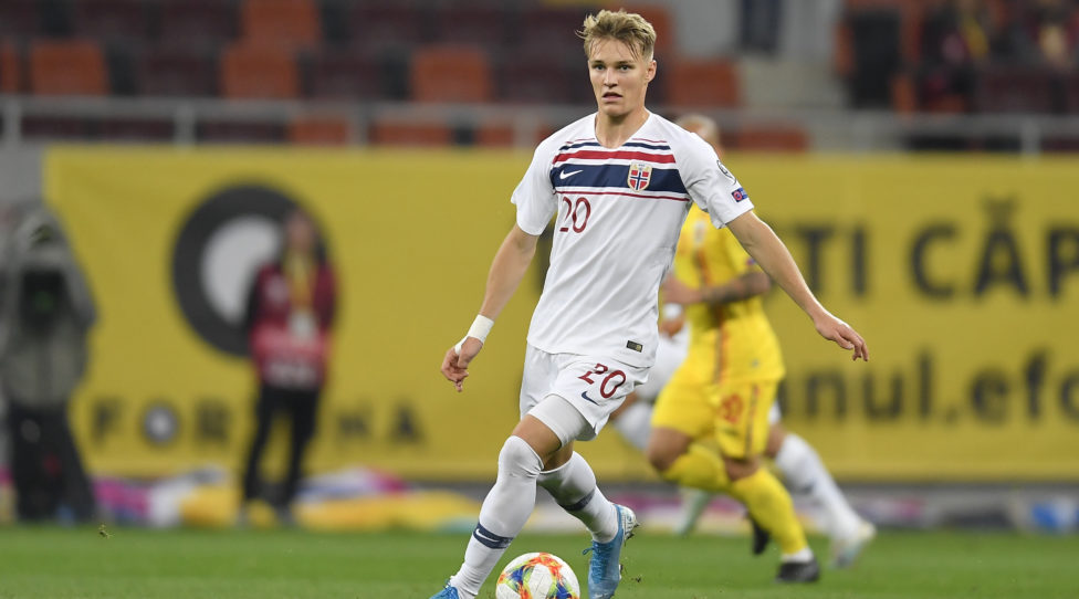 Martin Odegaard of Norway in action during the UEFA Euro 2020 qualifier match between Romania and Norway at Arena Nationala on October 15, 2019 in Bucharest, Romania. (Photo by Alex Nicodim/NurPhoto via Getty Images)