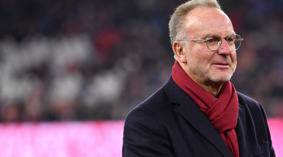MUNICH, GERMANY - NOVEMBER 30: Karl-Heinz Rummenigge, CEO of FC Bayern Muenchen looks on prior to the Bundesliga match between FC Bayern Muenchen and Bayer 04 Leverkusen at Allianz Arena on November 30, 2019 in Munich, Germany. (Photo by Sebastian Widmann/Bongarts/Getty Images)