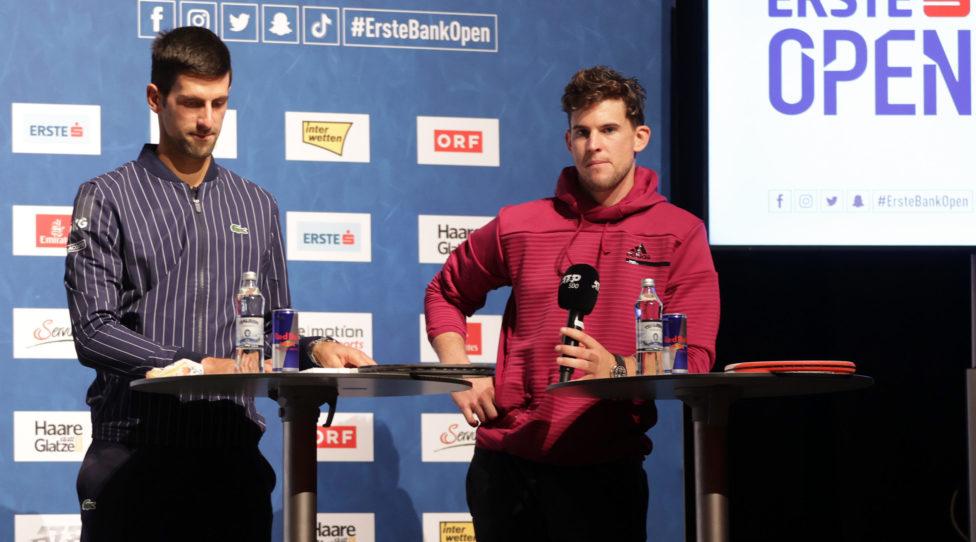 VIENNA,AUSTRIA,25.OCT.20 - TENNIS - ATP World Tour, Erste Bank Open, preview, press conference. Image shows Novak Djokovic (SRB) and Dominic Thiem (AUT). Photo: GEPA pictures/ Walter Luger
