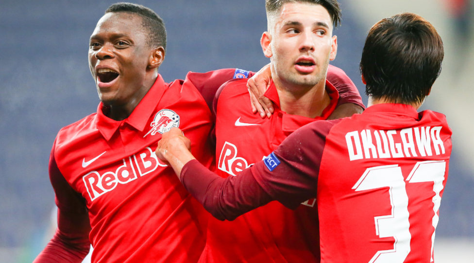 SALZBURG,AUSTRIA,30.SEP.20 - SOCCER - UEFA Champions League, play off, Red Bull Salzburg vs Maccabi Tel Aviv. Image shows the rejoicing of Patson Daka, Dominik Szoboszlai and Masaya Okugawa (RBS). Photo: GEPA pictures/ David Geieregger