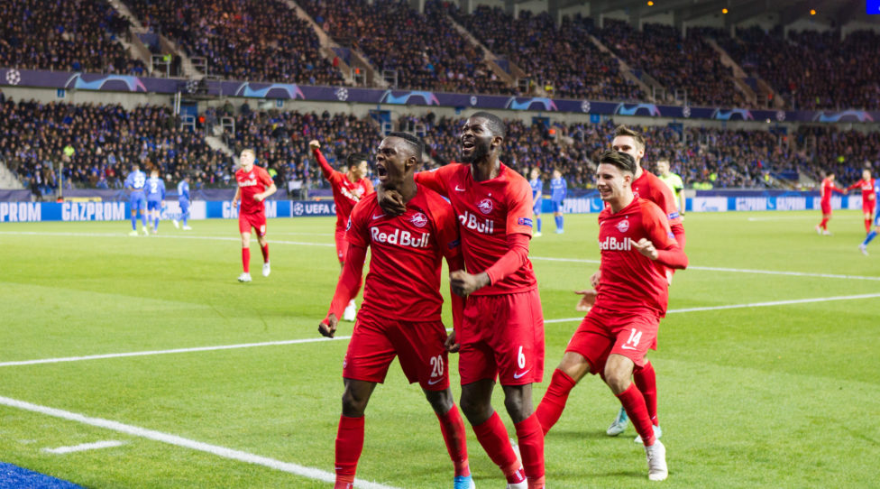 GENK,BELGIUM,27.NOV.19 - SOCCER - UEFA Champions League, group stage, KRC Genk vs Red Bull Salzburg. Image shows the rejoicing of Patson Daka and Jerome Onguene (RBS). Photo: GEPA pictures/ Mathias Mandl