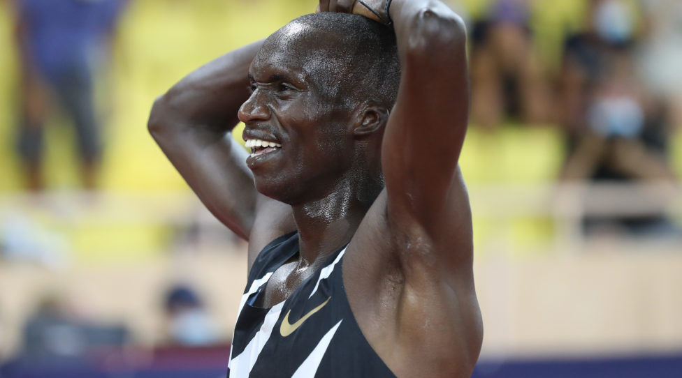 MONACO, MONACO - AUGUST 14: Joshua Cheptegei of Uganda reacts after winning the Men's 5000 metres during the Herculis EBS Monaco 2020 Diamond League meeting at Stade Louis II on August 14, 2020 in Monaco, Monaco. (Photo by Valery Hache/Pool via Getty Images)