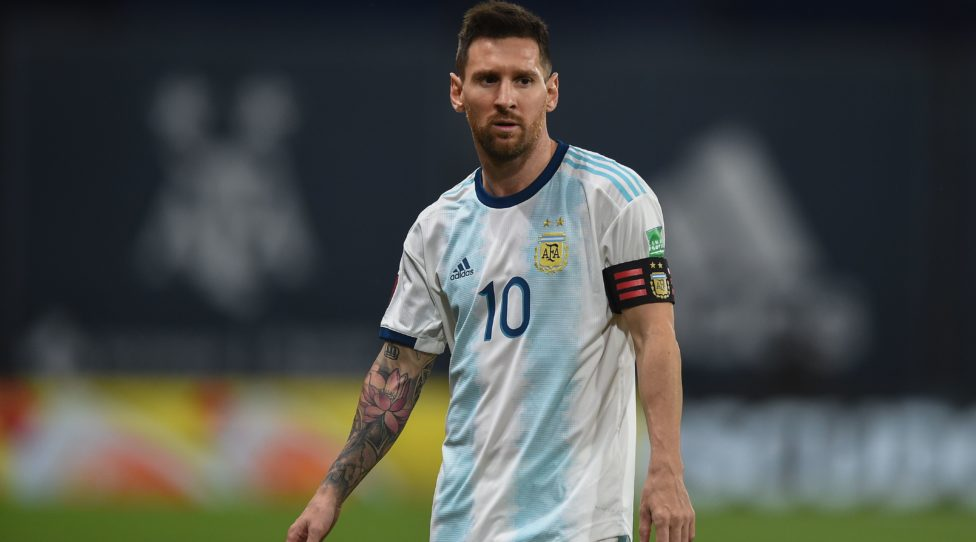 Argentina's Lionel Messi is pictured during the closed-door 2022 FIFA World Cup South American qualifier football match against Paraguay at La Bombonera Stadium in Buenos Aires on November 12, 2020. (Photo by Marcelo Endelli / POOL / AFP) (Photo by MARCELO ENDELLI/POOL/AFP via Getty Images)