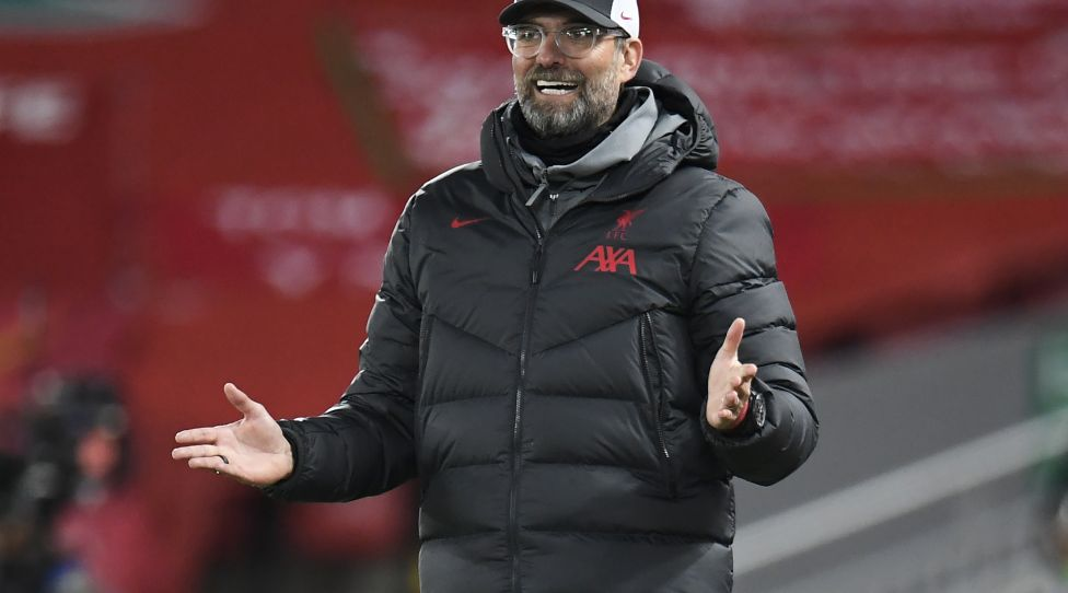 Liverpool's German manager Jurgen Klopp reacts during the UEFA Champions League football match between Liverpool and Atalanta Bergamo at Anfield in Liverpool, north west England on November 25, 2020. (Photo by PETER POWELL / POOL / AFP) (Photo by PETER POWELL/POOL/AFP via Getty Images)
