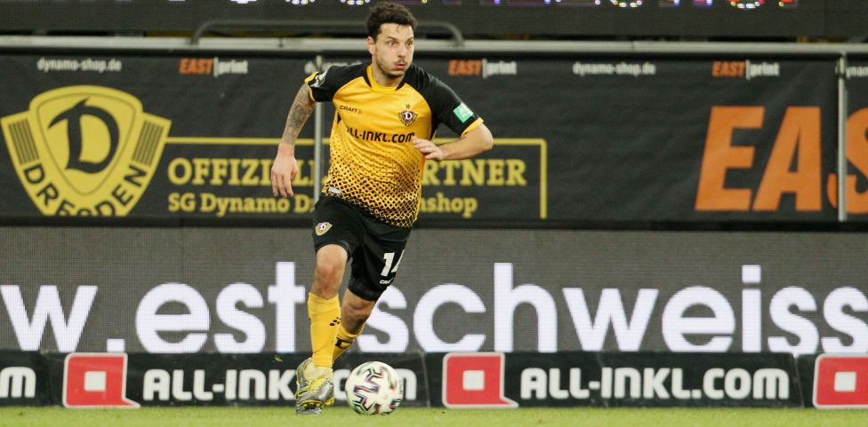 DRESDEN, GERMANY - DECEMBER 15:  Philipp Hosiner of Dresden controls the ball during the 3.Liga match between SG Dynamo Dresden and SC Verl at Rudolf-Harbig-Stadion on December 15, 2020 in Dresden, Germany.  (Photo by Karina Hessland/Getty Images for DFB)