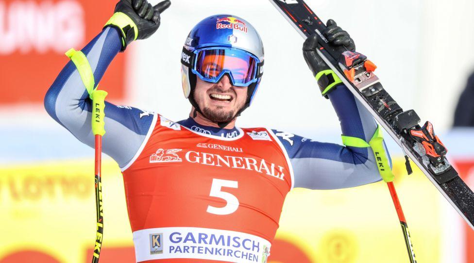 GARMISCH-PARTENKIRCHEN,GERMANY,05.FEB.21 - ALPINE SKIING - FIS World Cup, downhill, men. Image shows the rejoicing of Dominik Paris (ITA). Photo: GEPA pictures/ Harald Steiner