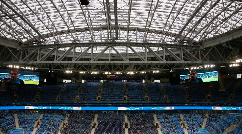 Closed roof from during the Russian Premier League 2020-2021 between Zenit Saint Petersburg and Rostov at the Gazprom Arena in Saint Petersburg. Final score Zenit Saint Petersburg 2:2 Rostov MaksimxKonstantinov